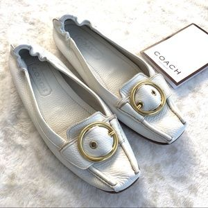 Coach Nellie Calf P571 Gold White Leather Loafers